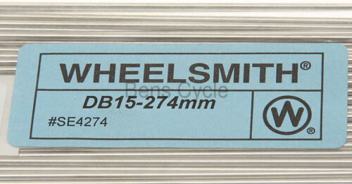 Wheelsmith DB15 Spokes Double Butted 274mm 15g 1.8//1.5//1.8 Lot of 10 Silver NEW