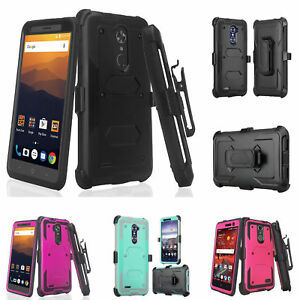 huge selection of e5bc6 6cdd8 Details about ZTE Blade X Max Case, ZMAX Pro Z981 Z983 Built-in Screen  Protector Holster Cover