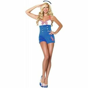 Bodysocks-Women-039-s-Retro-Sailor-Costume-Female-Navy-Fancy-Dress-Hen