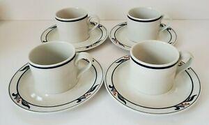 """Dansk Bistro """"Maribo"""" Cups & Saucers, cobalt & red (4 sets)"""