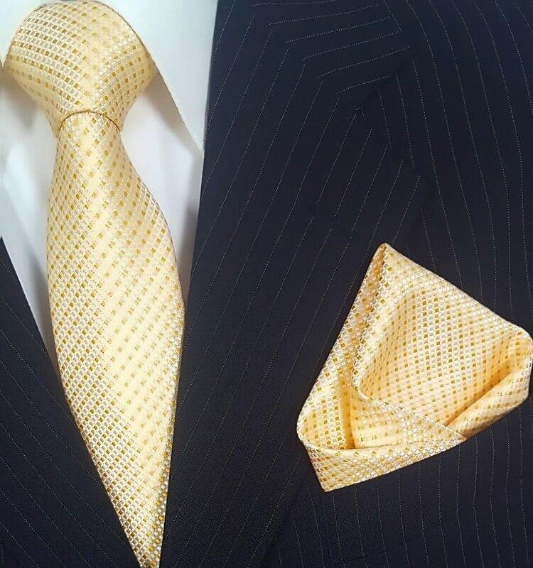 Krawatte mit Einstecktuch Krawatten Schlips Binder de Luxe Tie 601 Gold Gelb