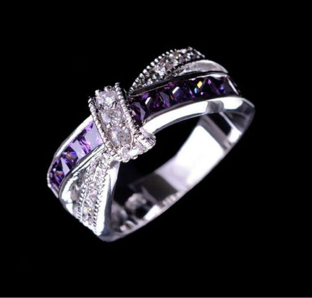 Wedding Purple Amethyst White Topaz Gemstone Silver Unisex Ring Size 6 7 8 9 10