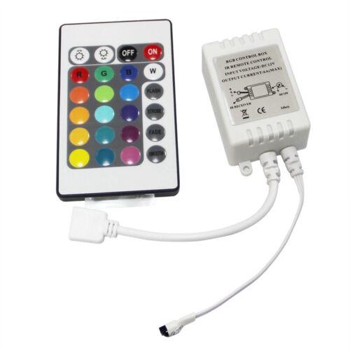 1X LED RGB Controller Kontroller Steuerung IR FB 24 Tasten weiss 12V Z7B4