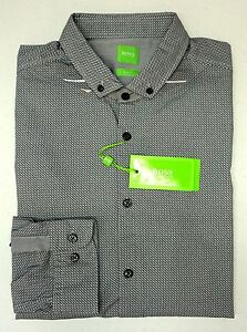 NWT-145-Hugo-Boss-Gray-Shirt-LS-Mens-M-L-XL-C-Bilia-50330826-410-Slim-Fit
