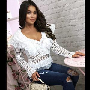 Womens-Crochet-Lace-Long-Sleeves-Top-Peplum-Ruffle-See-through-Blouse-Tee-Shirt