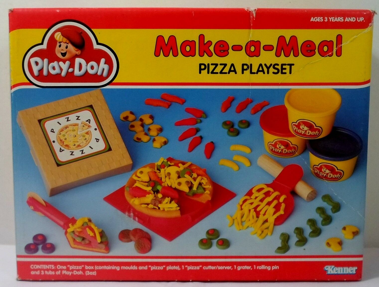 KENNER TONKA PLAY DOH VTG 1991 MAKE A MEAL PIZZA PLAYSET EUROPEAN MISP SEALED