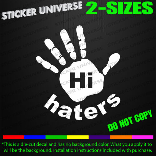 Hi Haters JDM Funny Car Window Decal Bumper Sticker Hater Tailgating Tuner 0267