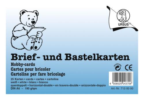 und Bastelkarten 190 g//m² Format DIN A6 URSUS Brief Inhalt 100 Karten
