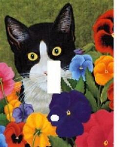 BLACK  WHITE CAT IN FLOWER GARDEN LIGHT SWITCH PLATE COVER  eBay