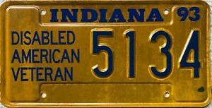 GENUINE-1993-Indiana-Disabled-American-Veteran-License-Licence-Number-Plate-5134