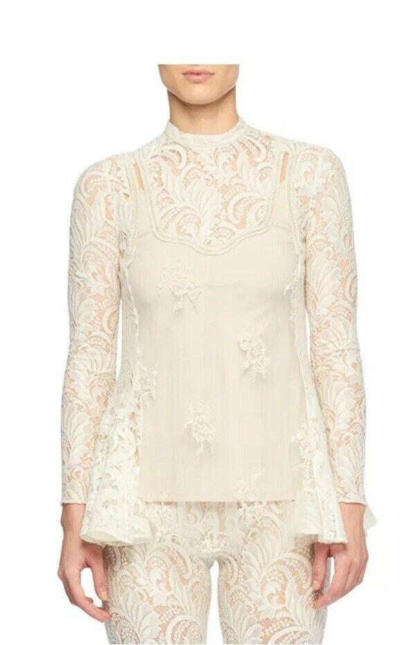 Stella McCartney - Embellished Paneled Wool-blend Lace And Tulle Blouse - Ivory