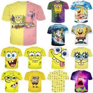 a4c2a22a New Men Women SpongeBob SquarePants Cartoon Print 3D T-Shirts Casual ...