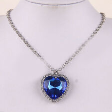 Stylish 1Pcs Dark Blue The Love Of Heart Ocean Crystal Alloy Pendant Necklace
