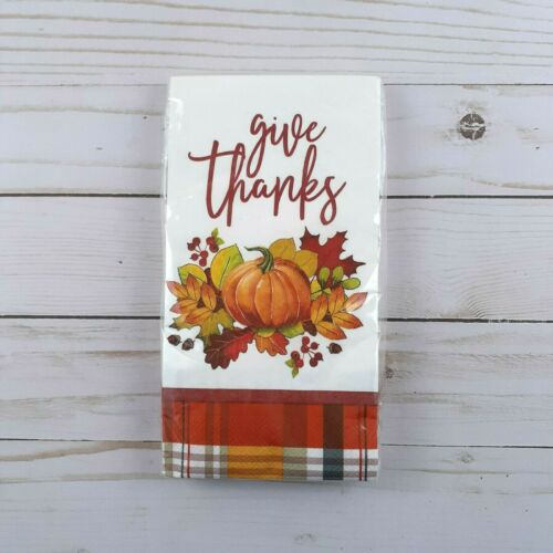 Paper Dinner Napkins Give Thanks Pumpkin Fall Leaves Guest Towels 20 Count
