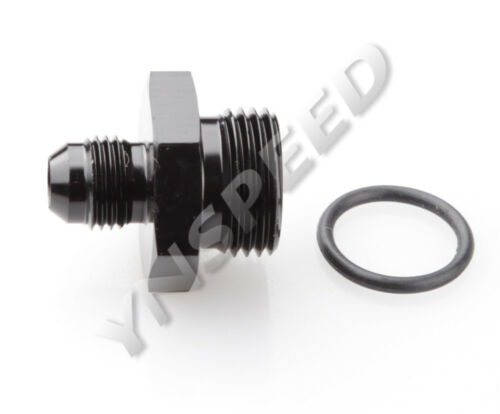 8AN AN-8 Male Flare To 8AN Straight Cut O-Ring Adapter Fitting Black