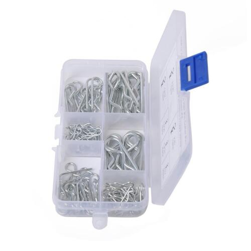 100pcs R Cotter Pins Tractor Pin Clips Split Cotter Fastener Pins w// Plastic Box