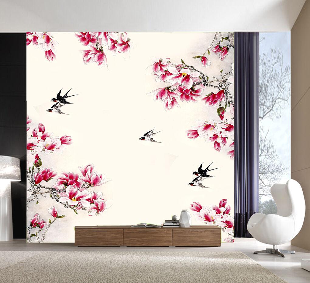 3D Blooming Flowers Bird Paper Wall Print Decal Wall Wall Murals AJ WALLPAPER GB