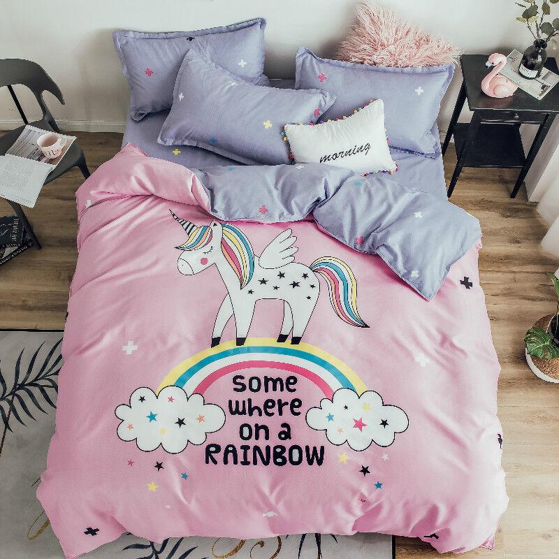 Girls Pink Rainbow Unicorn Bedding Set Duvet Cover+Sheet+Pillow Case Four-Piece