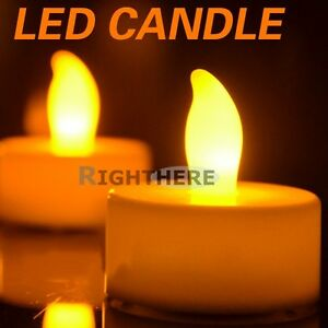 YELLOW-TEA-LIGHT-FLAMELESS-FLICKERING-CANDLES-WEDDING-LED-CANDLE-BATTERIES-PARTY