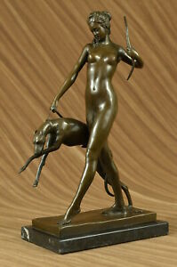Sign-Nude-Diana-the-Hunter-with-Hunting-dog-Bronze-Sculpture-Marble-Base-Statue