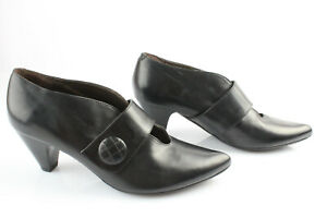 Enzo Versini Leather Court Shoes Black T 36,5 Mint Activating Blood Circulation And Strengthening Sinews And Bones Women's Shoes Heels