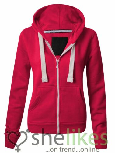 NEW WOMENS LADIES HOODED SWEATSHIRT OVER PLUS SIZE FRONT ZIP PLAIN HOODIE JACKET