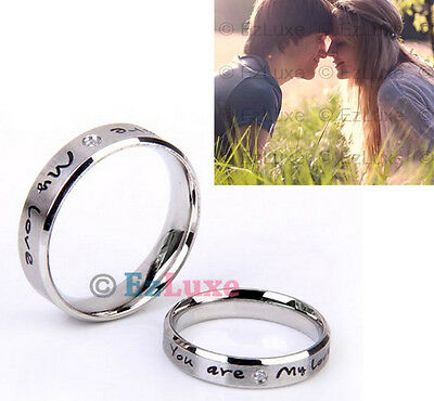 Korean You Are My Love Couple Rings band Set Promise forever heart PERSONALIZED