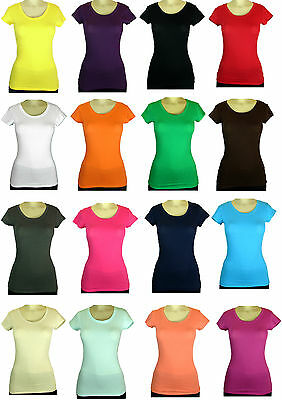 ROUND NECK SHORT SLEEVE WOMENS SOLID TOP COTTON T SHIRT SIZE S-L MANY COLORS
