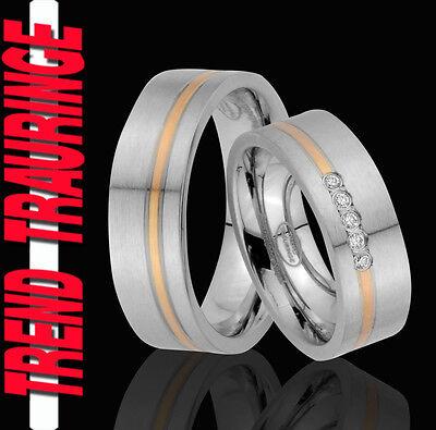 2 Ringe Eheringe Trauringe Verlobungsringe Gold Platiert Gravur Gratis Te67-5
