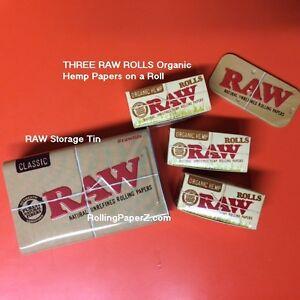 THREE-X-RAW-Organic-Hemp-ROLLS-5-meter-length-each-Rolling-Paper-Storage-TIN