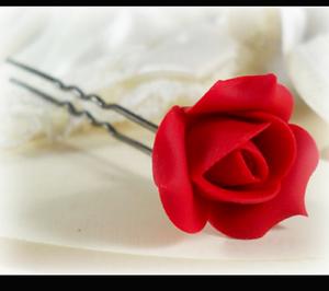 6 ROSE FLOWER WEDDING BRIDESMAID HAIR PINS U SHAPE