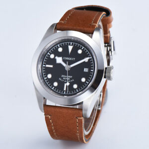 41mm-corgeut-black-dial-Sapphire-Glass-brown-strap-Sea-gul-Automatic-mens-Watch