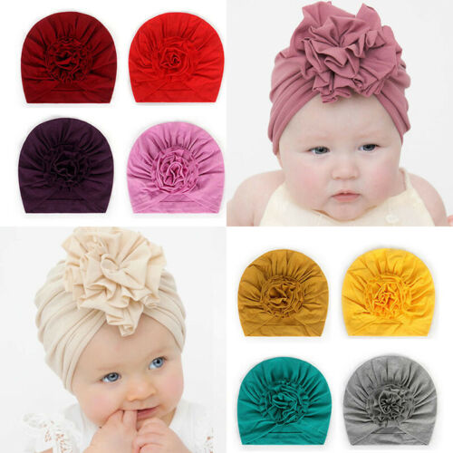 Flower Soft Cotton Baby Hat Turban Infant Newborn Cap Bonnet Headwrap Kid Beanie