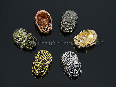jennysun2010 Side Drilled Metal Skull Bracelet Necklace Earring Craft Connector Charm Beads Gold Tone 10pcs per Bag for Bracelet Necklace Earrings Jewelry Making Crafts Design