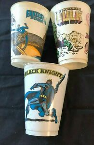 Vtg-FANTASTIC-FOUR-Hulk-Black-Knight-lOT-3-MARVEL-SUPER-HEROES-7-11-CUPS-1977