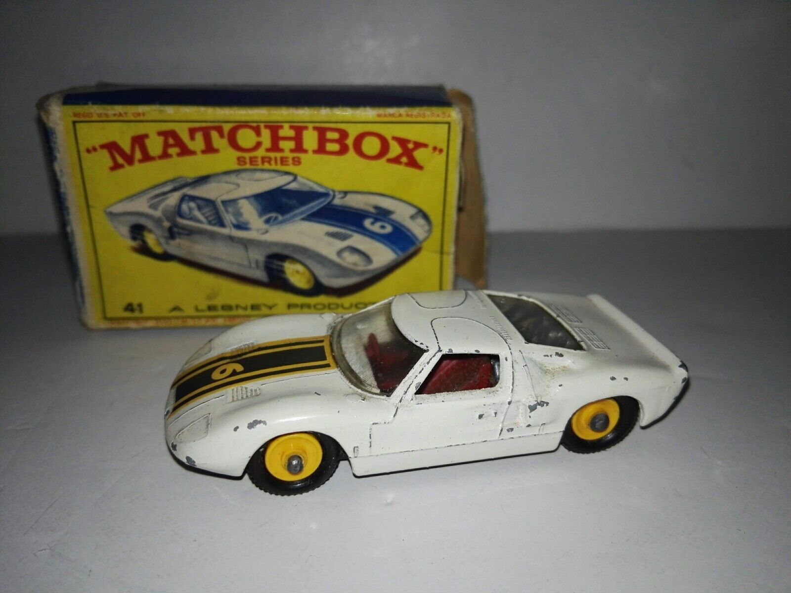 Matchbox -41c Ford GT by Lesney with original box 1965 rare