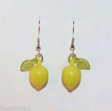 Lemon earrings silver dangle fruit kitsch food berry rockabilly retro 50s gift