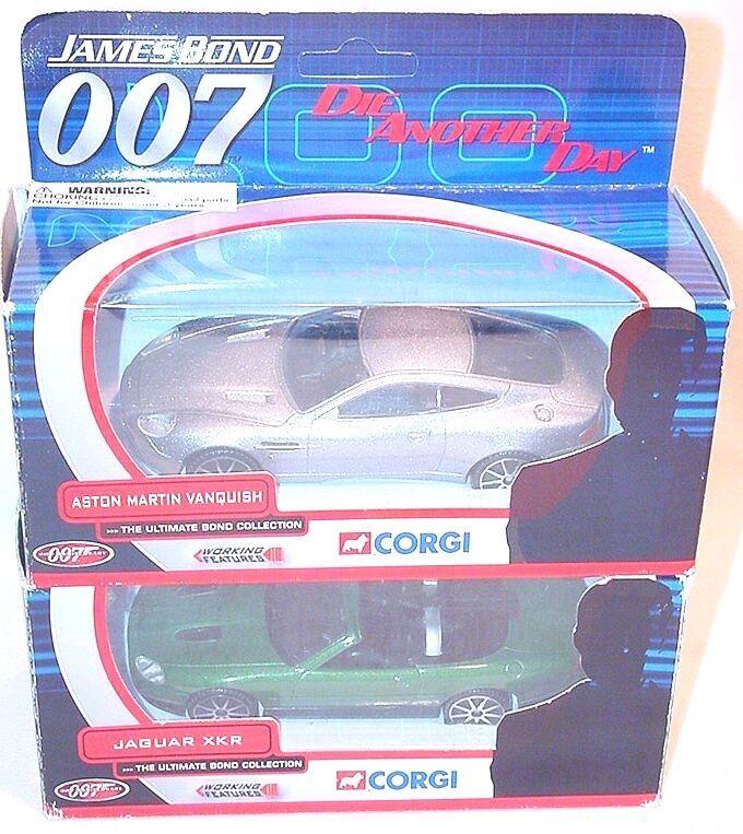 2x Corgi Toys 1 36 JAMES BOND 007 ASTON MARTIN VANQUISH + JAGUAR XKR Set MIB`01