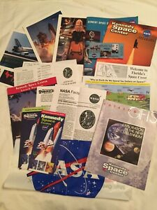 Kennedy Space Ctr. 15pc.Lot Posters,Maps,Guides,Pin,Shuttle Columbia,Hubble NASA