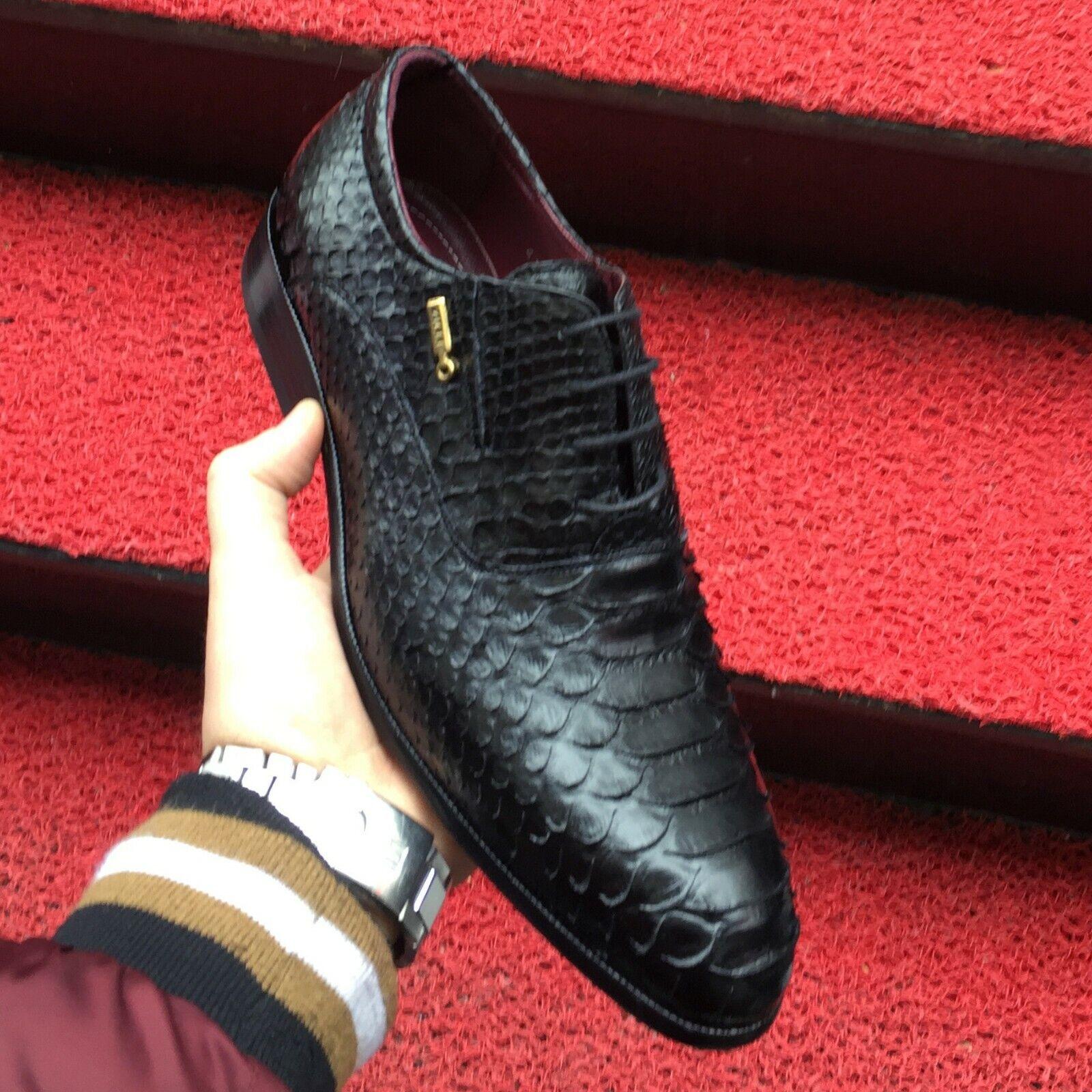 Nouveau Zilli véritable python cuir noir exotique Peau Handmade Robe Chaussures Pour Hommes
