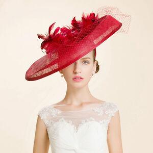 New Women's Kentucky Derby Church Wedding Noble Dress hat linen feather hat