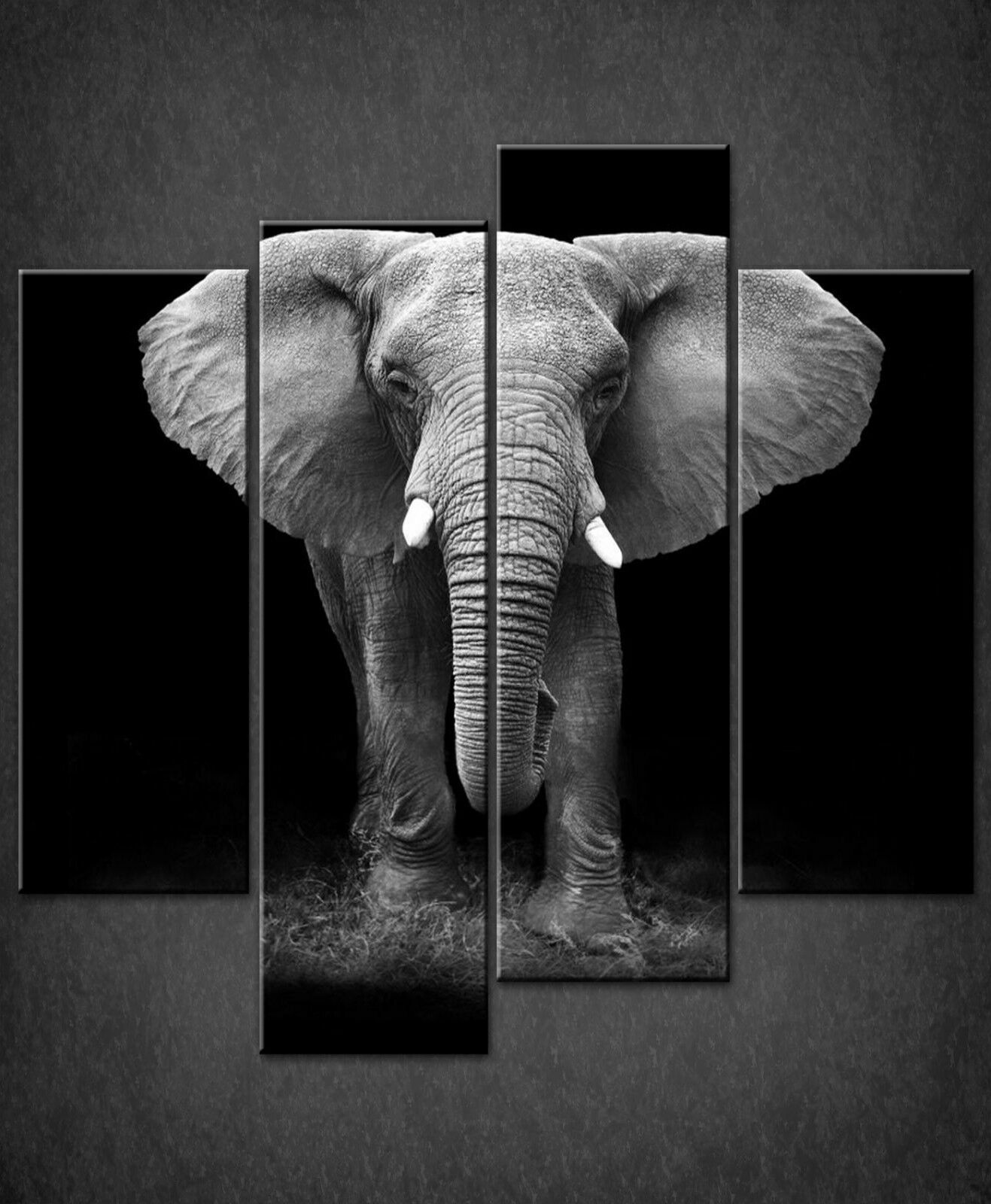 RAGING ELEPHANT CANVAS PRINT PICTURE WALL ART ABSTRACT DESIGN SET OF 4