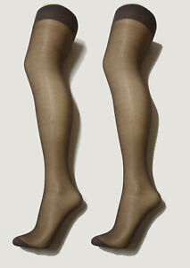 b6cfb8b5a8d Image is loading Nearly-Black-Gloss-Plain-Top-Stockings-Size-Tall