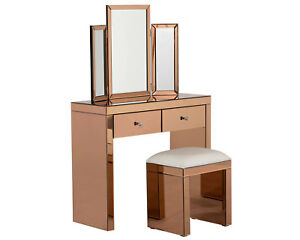 Image Is Loading Rose Gold Mirrored Dressing Table With Stool Amp