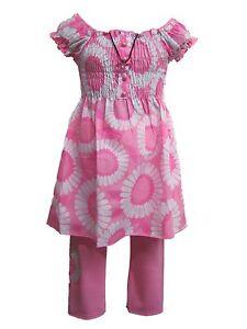 Girls little kitty sleeveless dress legging suit set outfits 2-10 years