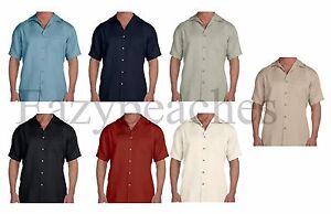 Harriton-034-CUBAVERA-STYLE-034-Men-039-s-S-4XL-Cabana-Breeze-Button-Down-Camp-Shirt