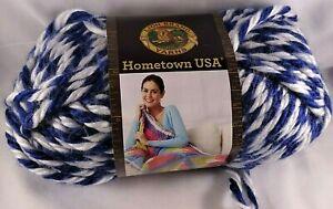 Lion-Brand-Hometown-USA-Yarn-Wildcats-Super-Bulky-Knit-Crochet-knitting-Blue