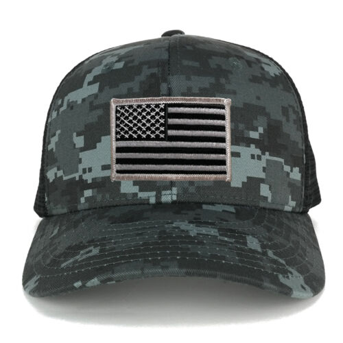 US American Flag Embroidered Patch Adjustable Camo Trucker Cap NTG-BLACK