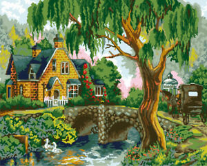 Beautiful Countryside River Trail HP Design Needlepoint Canvas #3