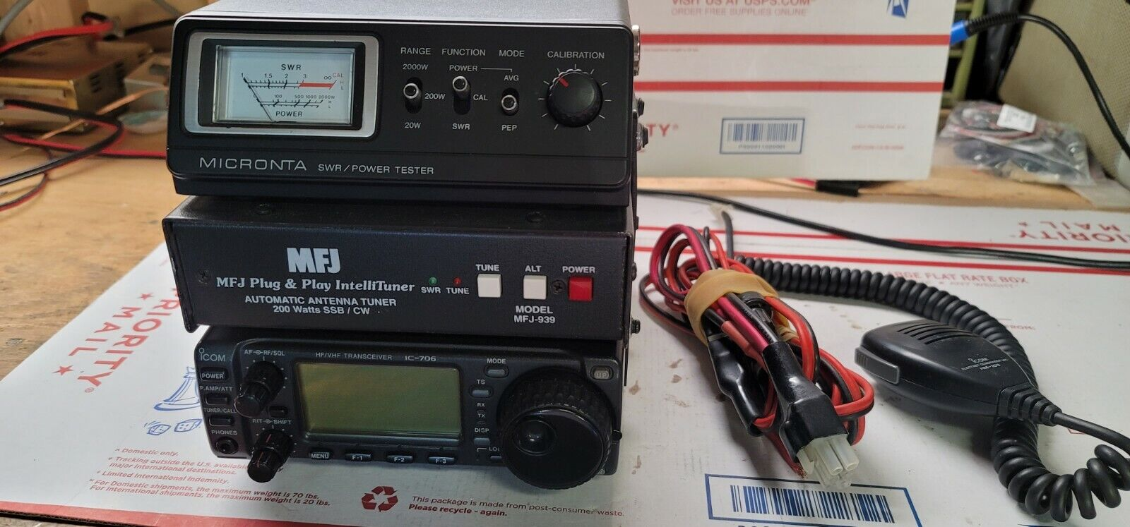 ICOM IC 706 MFJ ANTENNA TUNER MICRONTA SWR POWER METER. Available Now for 700.00